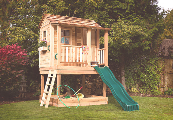 Little Cedar Playhouse- 6'x6' with Sandbox By Outdoor Living